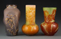 Glass, Three French Glass Vases, circa 1905. Marks to two shorter: Gallé. 6-1/2 inches (16.5 cm) (tallest). ... (Total: 3 Items)