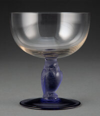 R. Lalique Clear and Blue Glass Rapace Coupe, circa 1929 Marks: R. Lalique, F