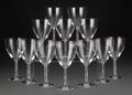 Glass, Set of Twelve Lalique Clear and Frosted Glass Phalsbourg Tall Water Goblets, designed 1924, manufactured post-19... (Total: 12 Items)