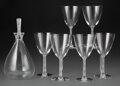 Glass, Set of Six Lalique Glass Phalsbourg Water Goblets and an R. Lalique Glass Phalsbourg Decanter, 20th ... (Total: 7 Items)