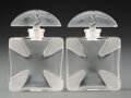 Glass, Two R. Lalique Clear and Frosted Glass Croix...