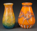 Glass, Two Muller Frères Acid Etched and Enameled Glass Vases, circa 1920. Marks: Muller Fres, Luneville. 6-3/4 inches (17.1 cm... (Total: 2 Items)