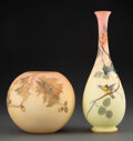 Glass, Two American Enameled Burmese Glass Vases, late 19th century . 11 inches (27.9 cm) (tallest). ... (Total: 2 Items)