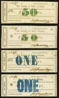 Estillbille, VA- County of Scott 50¢ (2); $1 (2) Aug. 15, 1862 Choice About Uncirculated or Better. ... (Total: 4 n...