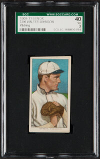 1909-11 T206 Lenox-Black Walter Johnson (Hands At Chest) SGC 40 VG 3 - Only Four SGC-Graded Examples!