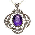 Estate Jewelry:Pendants and Lockets, Antique Amethyst, Diamond, Seed Pearl, Platinum, Silver-Topped Gold Pendant-Necklace. ...