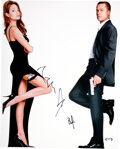 Movie/TV Memorabilia:Autographs and Signed Items, Brad Pitt/Angelina Jolie Signed Mr. and Mrs. Smith Promo Print....