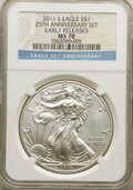 2011-S $1 Silver Eagle, 25th Anniversary, First Strike MS70 NGC. NGC Census: (18377). PCGS Population: (8118). ...(PCGS#...