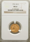Indian Quarter Eagles: , 1914 $2 1/2 MS61 NGC. NGC Census: (1991/3678). PCGS Population: (481/2354). CDN: $500 Whsle. Bid for NGC/PCGS MS61. Mintage...