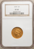 Three Dollar Gold Pieces: , 1870 $3 XF45 NGC. NGC Census: (27/235). PCGS Population: (19/202). CDN: $1,400 Whsle. Bid for NGC/PCGS XF45. Mintage 3,535....