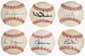 Autographs:Baseballs, Hall of Famers Single Signed Baseballs, Lot of 6. ...