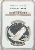 Modern Commemoratives, 2008-P $1 Bald Eagle MS70 NGC. Paired with a 2008-P $1 Bald Eagle, PR70 Ultra Cameo NGC. ... (Total: 2 coins)