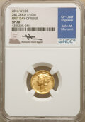 Modern Bullion Coins, 2016-W 10C Mercury Dime, Tenth-Ounce Gold, 100th Anniversary, First Day of Issue, Mercanti Signature, SP70 NGC. NGC Census:...