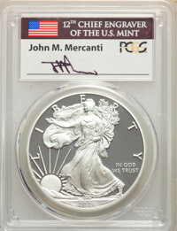 2016-W $1 Silver Eagle, Lettered Edge, 30th Anniversary, First Day of Issue - Denver, Mercanti Signature, PR70 Deep Came...