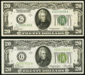 Small Size:Federal Reserve Notes, Fr. 2052-G $20 1928B Federal Reserve Notes. Very Fine-Extremely Fine.. ... (Total: 2 notes)