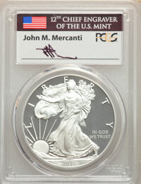 2016-W $1 Silver Eagle, Lettered Edge, 30th Anniversary, First Day of Issue - Philadelphia, Mercanti Signature PR70 Deep...