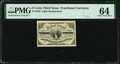 Inverted Back Plate 2 Fr. 1226 3¢ Third Issue PMG Choice Uncirculated 64