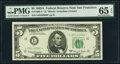Fr. 1964-G $5 1950C Federal Reserve Note. PMG Choice Uncirculated 63 EPQ; Fr. 1968-L* $5 1963A Federal Reserve Star Note...