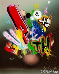 Martin Whatson (b. 1984) Still Life (S. Leigh), 2020 Acrylic over old painting on canvas 10-1/4 x
