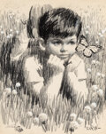 Works on Paper, Arthur Saron Sarnoff (American, 1912-2000). Little Boy in the Grasses. Charcoal on paper. 23-1/2 x 18 inches (59.7 x 45....
