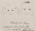 Works on Paper, LeRoy Neiman (American, 1921-2012). Missy and Amy, July 20, 1983. Charcoal pencil on board. 7-1/2 x 8-7/8 inches (19.1 x...