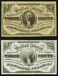 Fr. 1226 3¢ Third Issue Choice About New; Fr. 1227 3¢ Third Issue Extremely Fine. ... (Total: 2 notes)