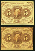 Fr. 1230 5¢ First Issue Choice About New; Fr. 1231 5¢ First Issue Choice About New. ... (Total: 2 notes)