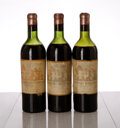 Red Bordeaux, Chateau Haut Brion 1947 . Pessac-Leognan . 1ms, 2ltms, 3hbsl, 3hfl, 3cc, great color. Bottle (3). ... (Total: 3 Btls. )