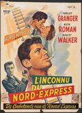 """Movie Posters:Hitchcock, Strangers on a Train (Warner Bros., 1951). Folded, Fine. Trimmed Belgian (14"""" X 19.25""""). Hitchcock.. ..."""
