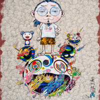 Takashi Murakami (b. 1962) Obliterate the Self and Even a Fire is Cool, 2013 Offset lithograph in co