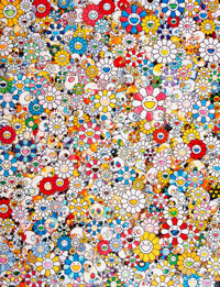 Takashi Murakami (b. 1962) Skulls and Flowers Multicolor, 2013 Offset lithograph in colors on satin