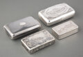 Silver & Vertu, Four Continental Silver Snuff Boxes, 19th century . Marks to largest: (St. George-1880-84), ИK-1880 (mark of Ivan Yefimo... (Total: 4 Items)