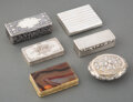 Silver & Vertu, A Group of Six Continental Silver Snuff Boxes and One Agate and Gilt Bronze Snuff Box, 19th century . Marks to tallest: AK... (Total: 6 Items)