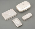 Silver & Vertu, A Group of Three Silver Snuff Boxes with a Metal Match Safe, 19th-early 20th century . Marks to largest: TIFFANY & Co. 266... (Total: 4 Items)