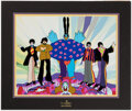 """Autographs:Others, Beatles Hand-Painted Yellow Submarine Limited Edition Animation Cel """"Love, Love, Love"""" Signed by George Martin, #148/175...."""