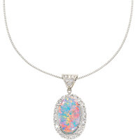 Black Opal, Diamond, Platinum Pendant-Necklace