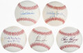 Autographs:Baseballs, Hall of Fame Pitchers Single Signed Baseballs, Lot of 5....