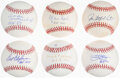Autographs:Baseballs, Hall of Fame Pitchers Single Signed Baseballs, Lot of 6.