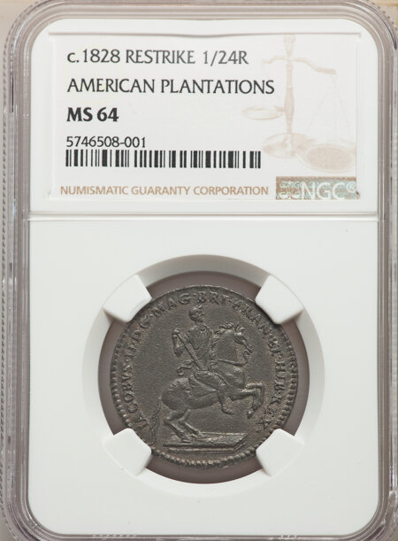 American Plantations 1/24 Part Real, Restrike 64 NGC