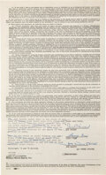 Movie/TV Memorabilia:Autographs and Signed Items, The Three Stooges Signed William Morris Agency Contract by Moe, Larry, and Joe (1960s)....