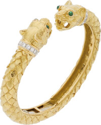 Diamond, Emerald, Platinum, Gold Bracelet, David Webb