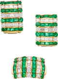 Estate Jewelry:Suites, Emerald, Diamond, Gold Jewelry Suite, Mayors. ... (Total: 2 Items)