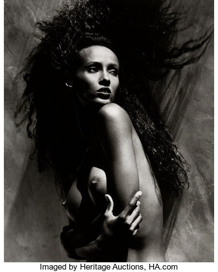 Greg Gorman (American, 1949) Iman, 1988 Gelatin silver 18-5/8 x 15 inches (47.3 x 38.1 cm) Signed, titled, dated, an...
