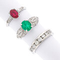 Estate Jewelry:Rings, Diamond, Emerald, Synthetic Ruby, Platinum Rings. ... (Total: 3 Items)