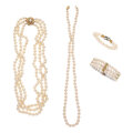 Estate Jewelry:Lots, Cultured Pearl, Diamond, Gold Jewelry. ... (Total: 4 Items)