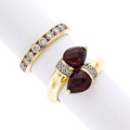 Estate Jewelry:Rings, Diamond, Garnet, Gold Rings . ... (Total: 2 Items)