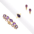 Estate Jewelry:Suites, Amethyst, Diamond, Gold, Yellow Metal Jewelry Suite. ... (Total: 3 Items)