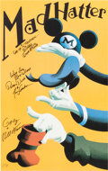 """Memorabilia:Poster, """"Mad Hatter"""" Mickey Mouse, Donald Duck and Goofy Fine Art Print Signed by Voice Artists (Walt Disney, c. 1990s)...."""