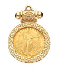 Estate Jewelry:Pendants and Lockets, US Gold Coin, Synthetic Sapphire, Gold Pendant. ...