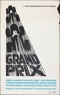 "Grand Prix by Saul Bass (Saul Bass, 1980s). Rolled, Fine+. Autographed Full Bleed Print (25"" X 39"") Saul Bass..."